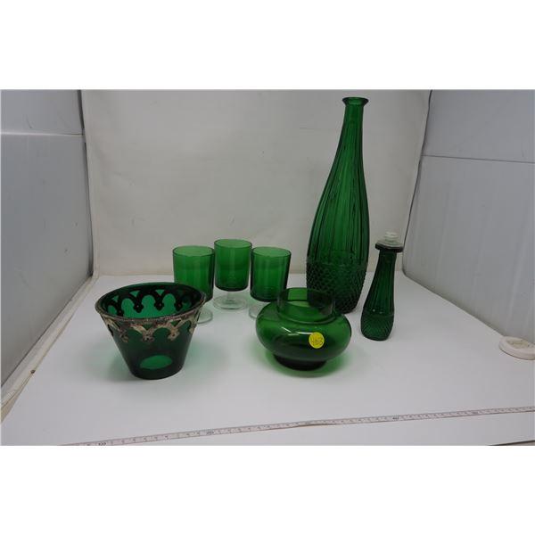 6 Piece Green Glass