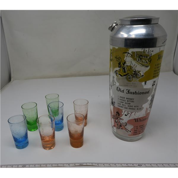 1950's Cocktail Shaker and shot glasses