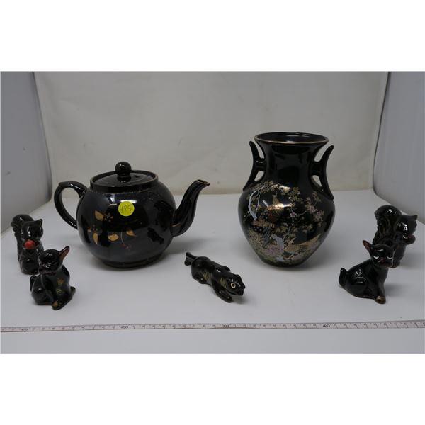 Vintage Black Ceramics 2 pieces and 5 animal figurines