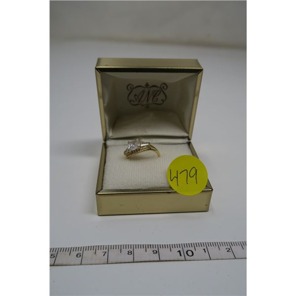 Gold Electroplate Ring 925 Silver Size 5