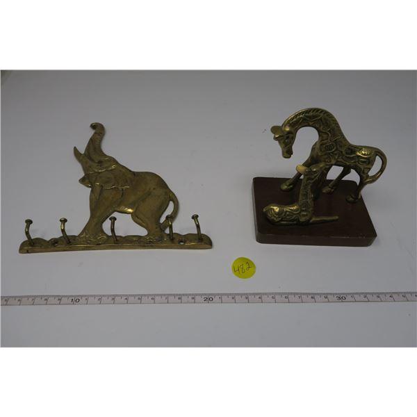 Brass Elephant Key Hanger and Brass Giraffe Statuete