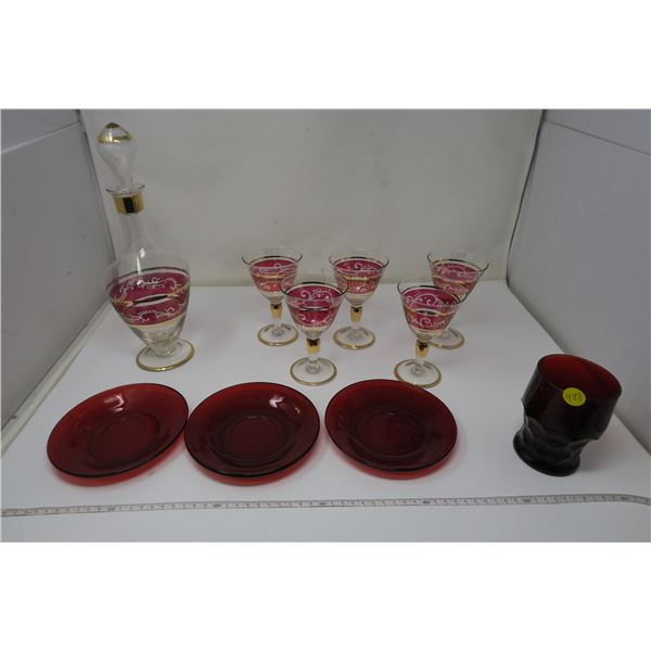10 Piece Glass - Lot All Red