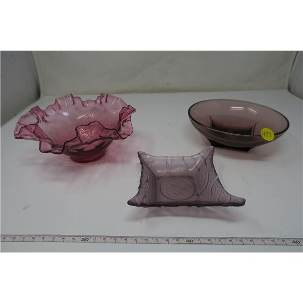 3 X Purple Glass