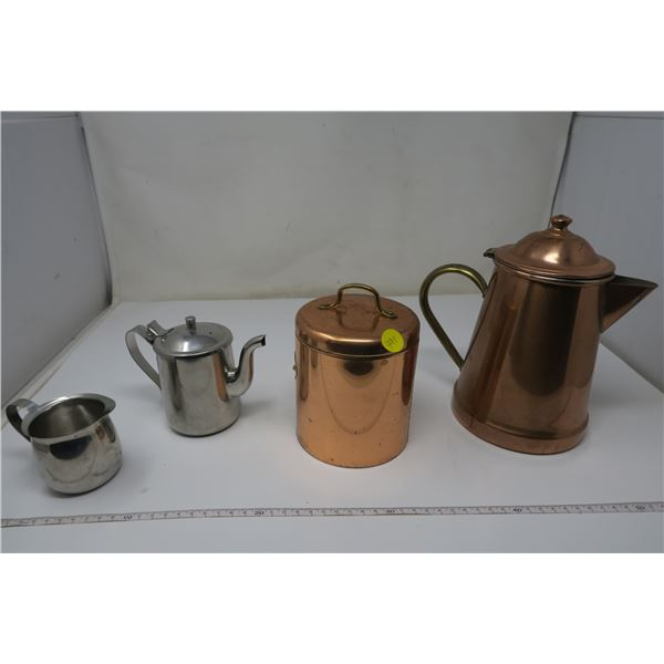 Copper & steel tea pots/accessories - 4 pieces