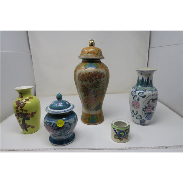 5 Asian Style Vases