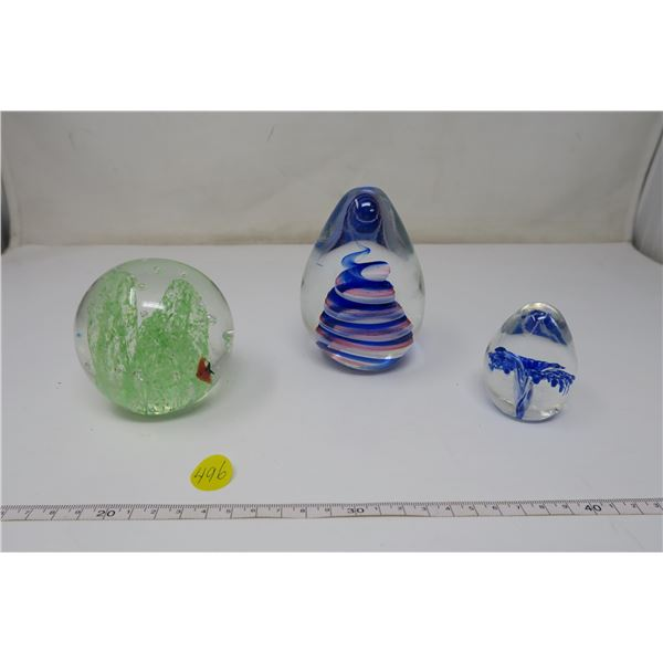 3 X Glass Decorative Paperweights
