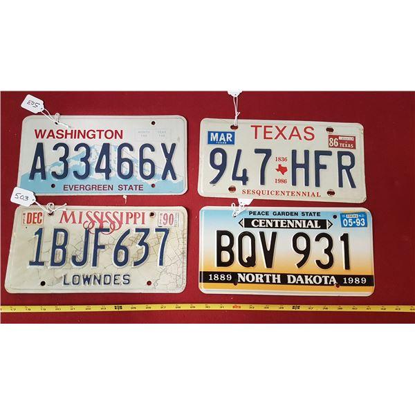 North Dakota ,Mississippi , Texas ,Washington Plates