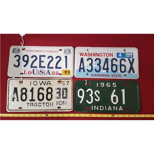 Iowa,Louisiana ,Washington,Indiana Plates