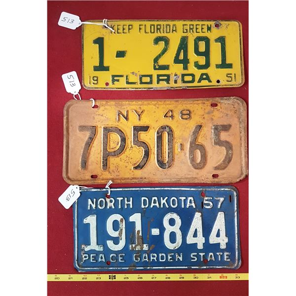 1957 North Dakota ,1951 Florida , 1948 New York Plates