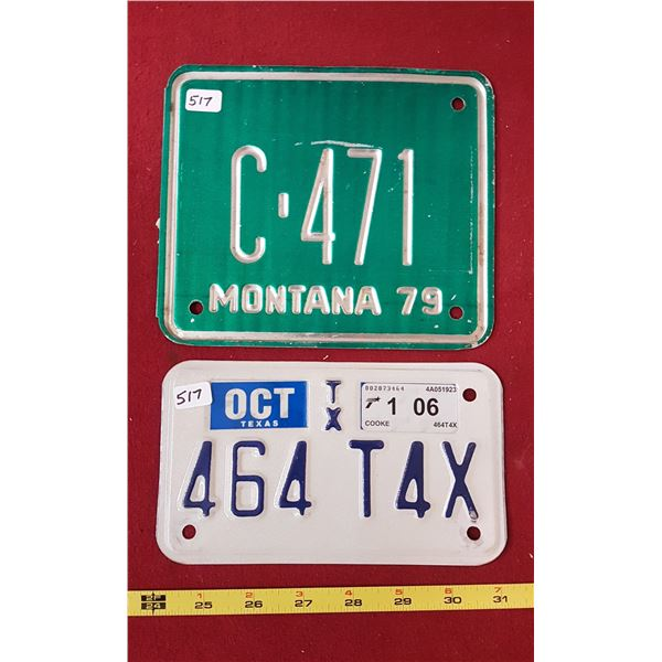 1979 Montana & 2006 Texas Motorcycle Plates