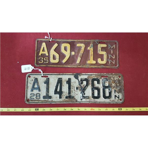 1928 & 1935 Minnesota Plates