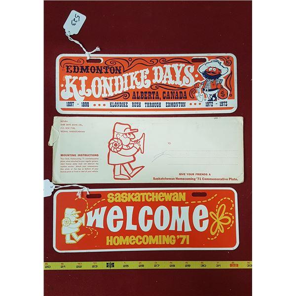 Edmonton Klondike Days 1972 & Sask 1971 Plate