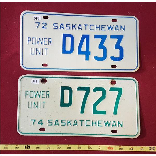 Saskatchewan Power Unit 1974 & 1972 Licence Plates