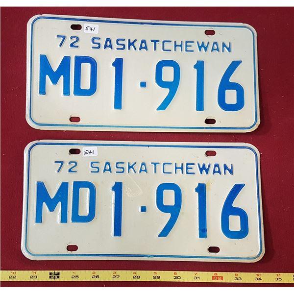 Saskatchewan Medical Doctor Plates 1972