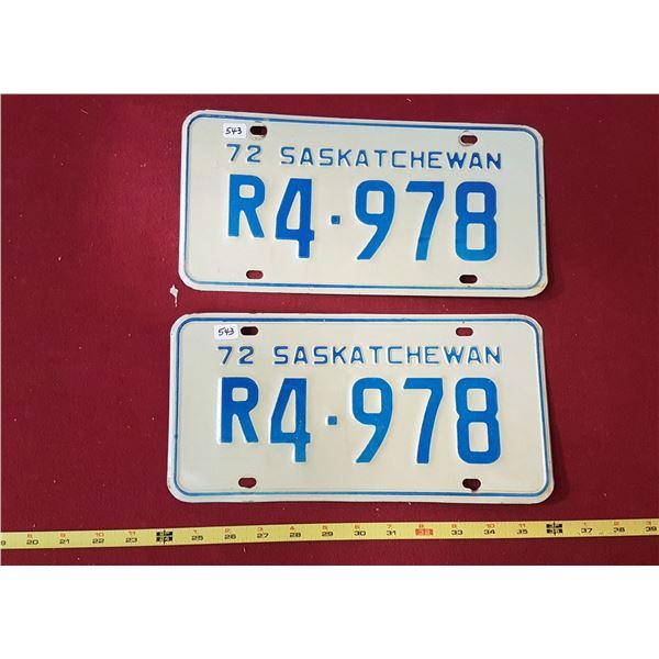 Saskatchewan Restricted Licence Plates Pair 1972