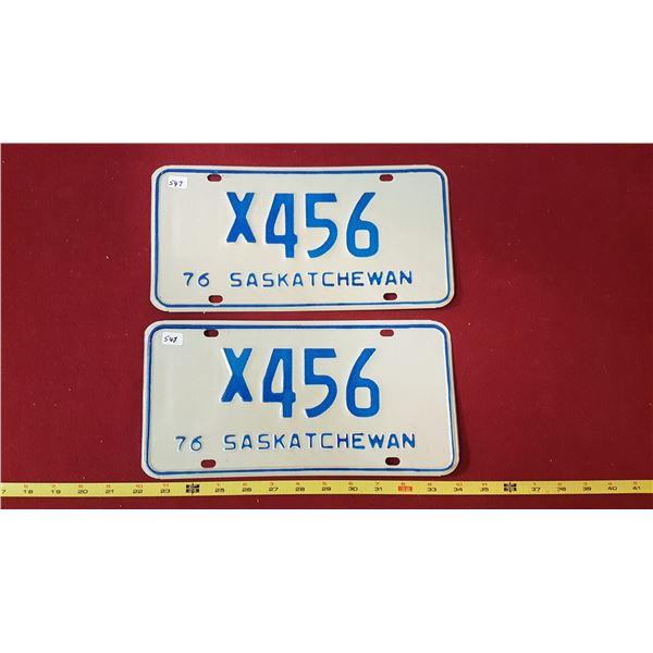 Saskatchewan 1976 X456 Licence Plates Pair