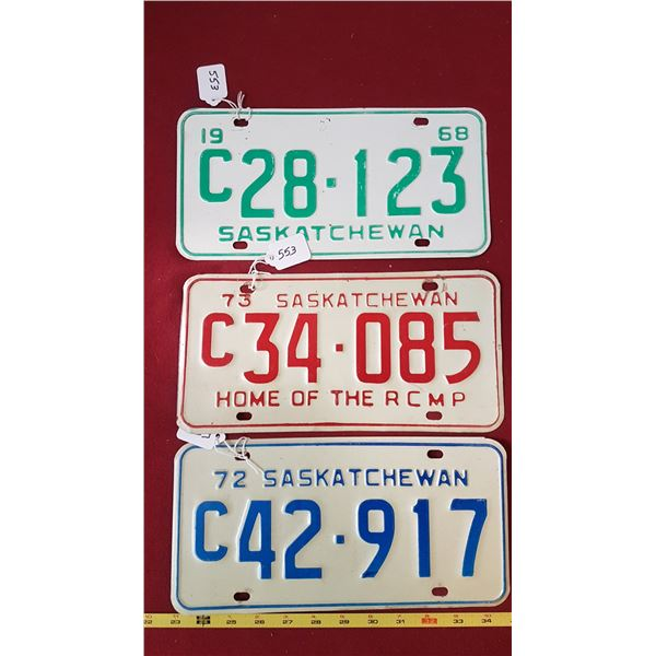 1968, 1972, 1973 Saskatchewan Licence Plates