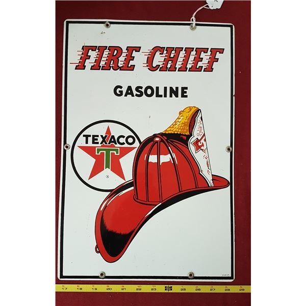 Firechief Porcelain Sign 1961 - P&M 4/61
