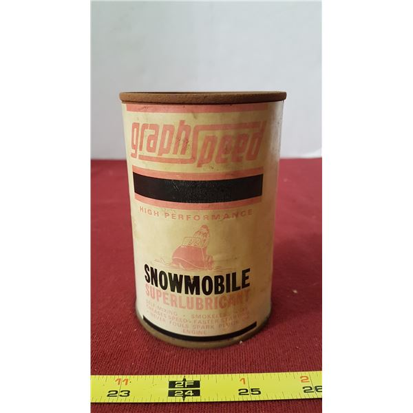 Rare Paper Label Graph Speed Snowmobile Can