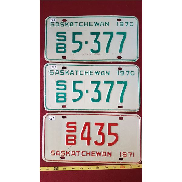 1970 & 1971 SK Licence Plates