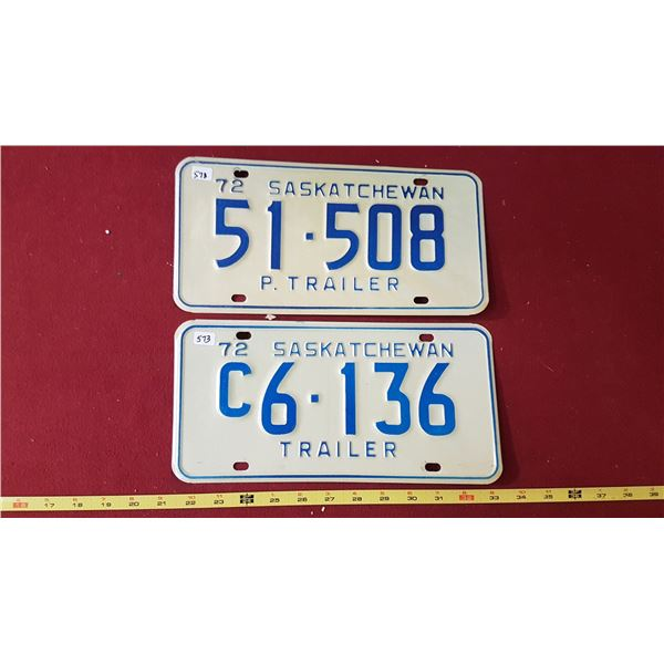 1972 Passenger & C Trailer Licence Plates