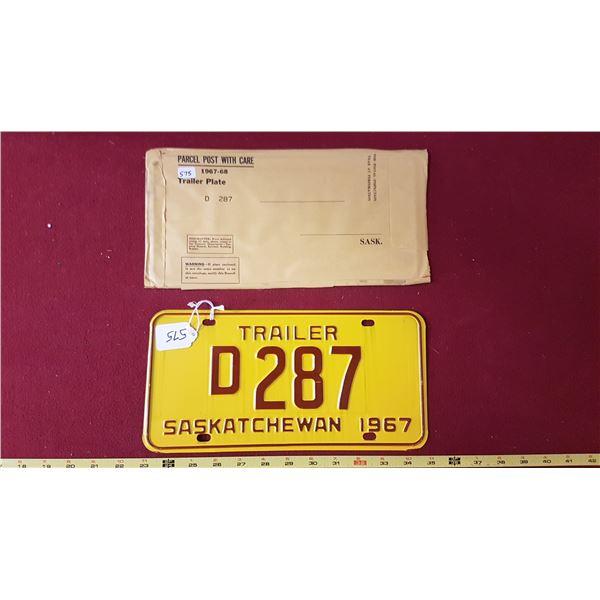 1967 Trailer D287 Licence Plate NOS