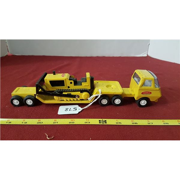 "Tonka Caterpillar & Flat Deck Truck 11 1/4""long"