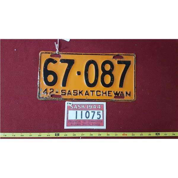 1942 SK Licence Plate & 1944 Replica Plate