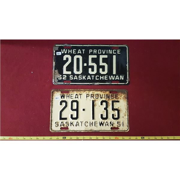 1951 & 1952 SK Licence Plates