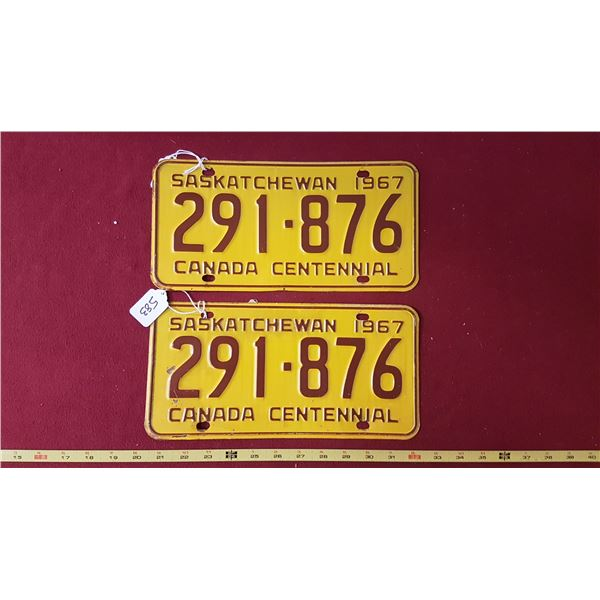1967 SK Licence Plate Pair
