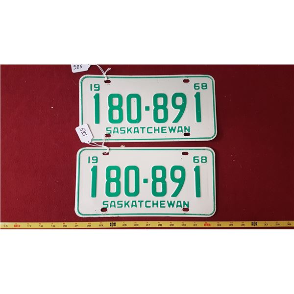 1968 SK Licence Plates Pair