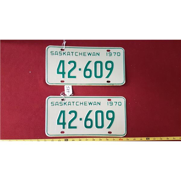 1970 SK Licence Plates Pair