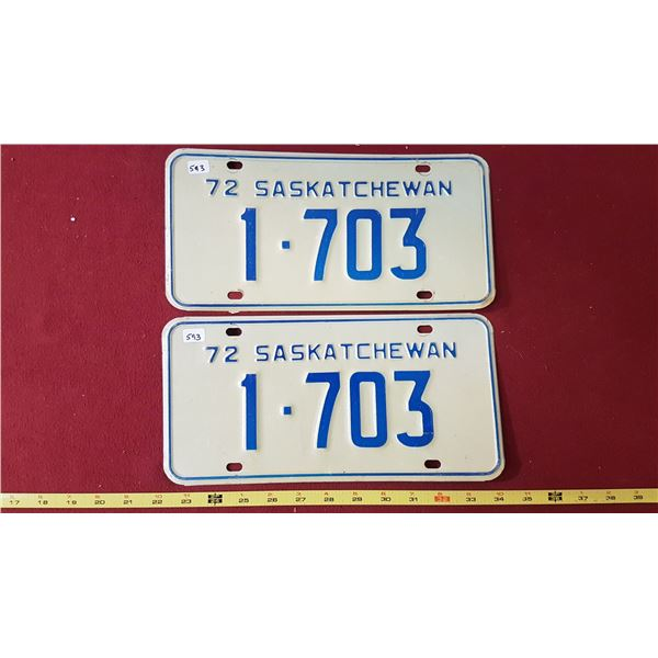 1972 SK Licence Plates Pair