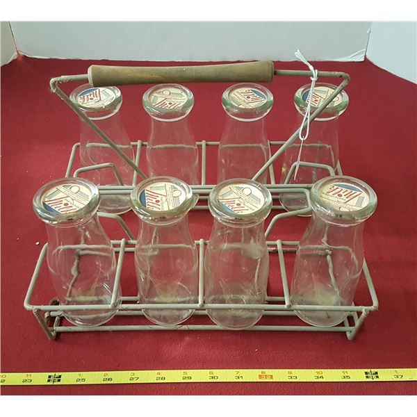 8 Pint Milk/Cream Bottles with Carrying Case