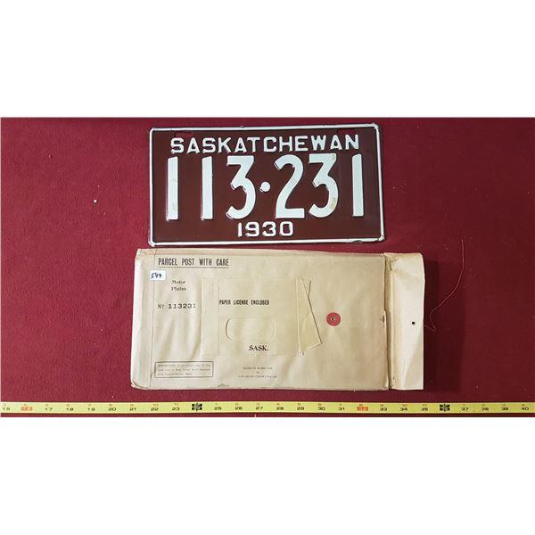 1930 SK Licence Plate NOS