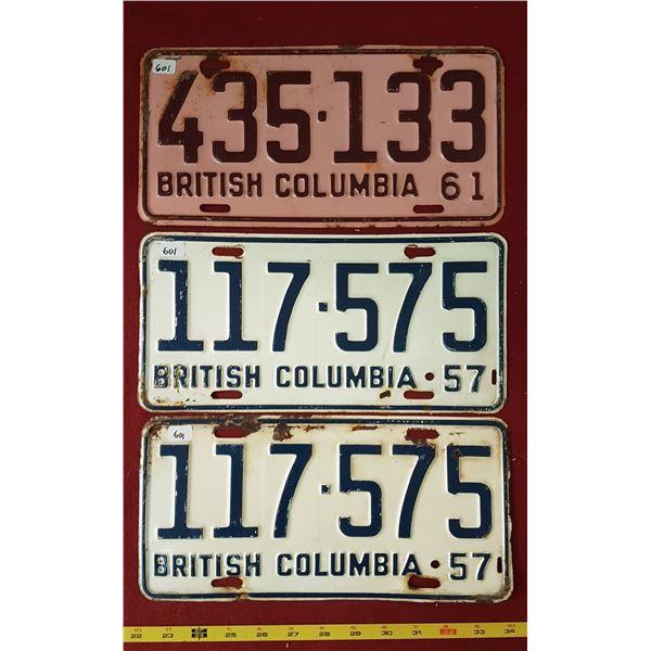 BC 1957 & 1961 Licence Plates