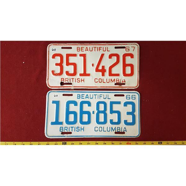 BC 1966 & 1967 Licence Plates