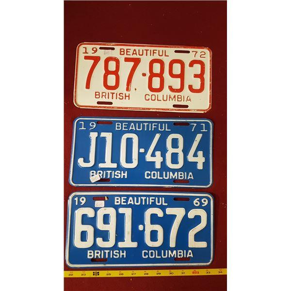 BC 1969, 1971 & 1972 Licence Plates