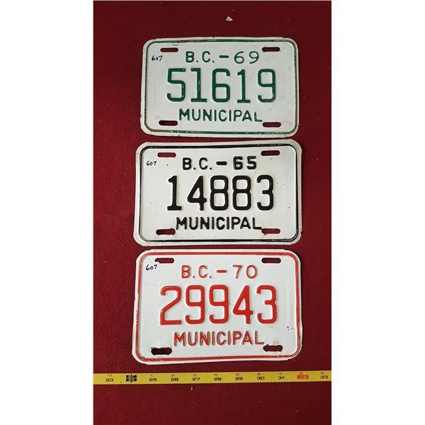 BC Municipal Plates 1969, 1970, 1965