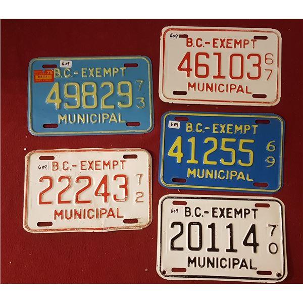 BC Exempt Municipal Plates 67, 69, 70, 72, 73