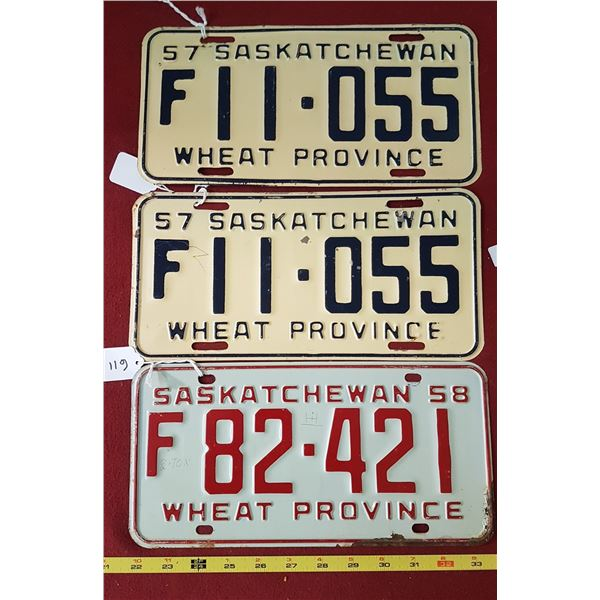 1957 Licence Pair, 1958 Licence Plate