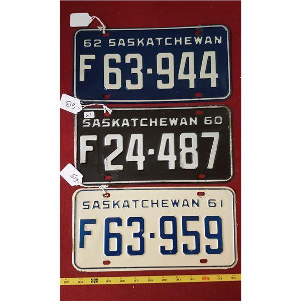 SK Farm Licence Plates 1960, 1961, 1962