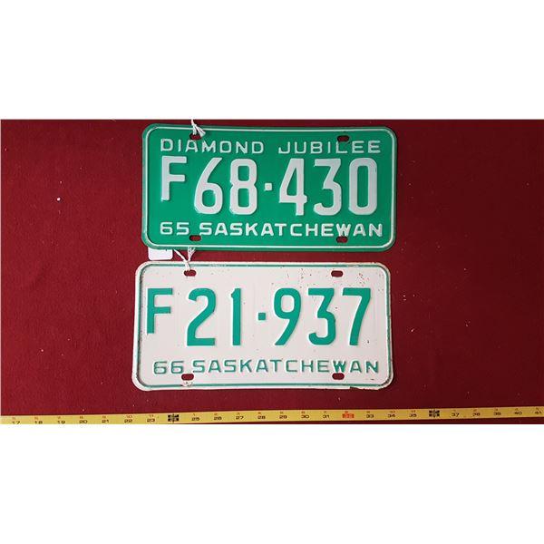 SK Farm Licence Plates 1965 & 1966