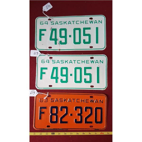 SK Farm Licence Plates 1963 & 1964