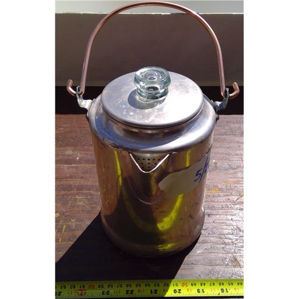 Coffee Pot with Glass Lid & Copper Handle
