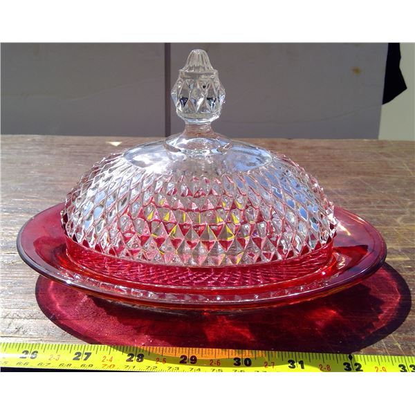 Red Butter Dish - Top & Bottom