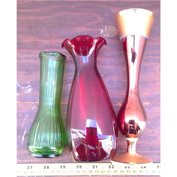3 Vases - Red, Green, & Copper Tone
