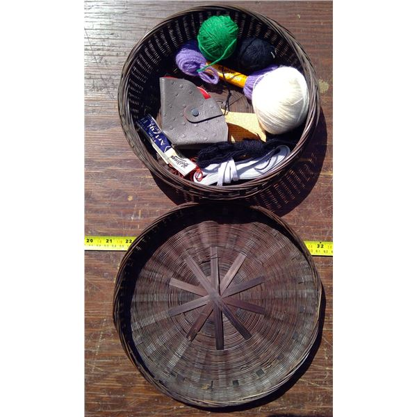 Sewing Basket & Contents - Round