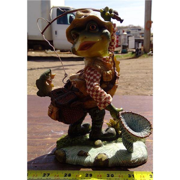 Frog Catching Fish Figurine