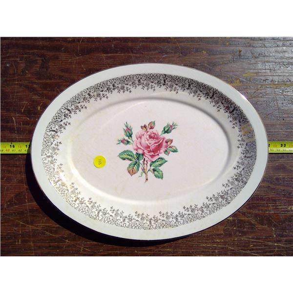 "1 - 13.5"" Oval Platter - Cornish Rose USA 22k Gold"